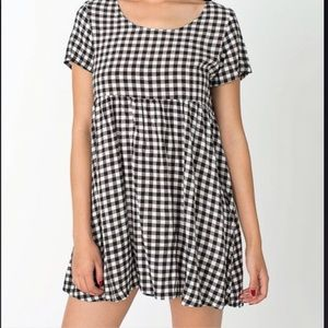 american apparel checkered babydoll dress